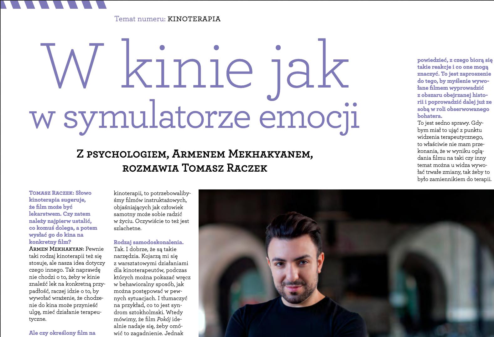 Fragment strony Magazynu Filmowego, wywiad, Armen Mekhakyan, Tomasz Raczek