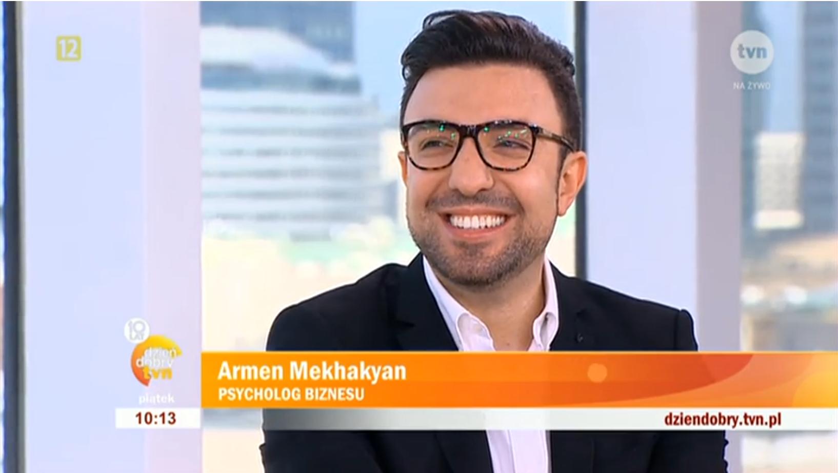 Dzień Dobry TVN, screenshot, Armen Mekhakyan psycholog biznesu