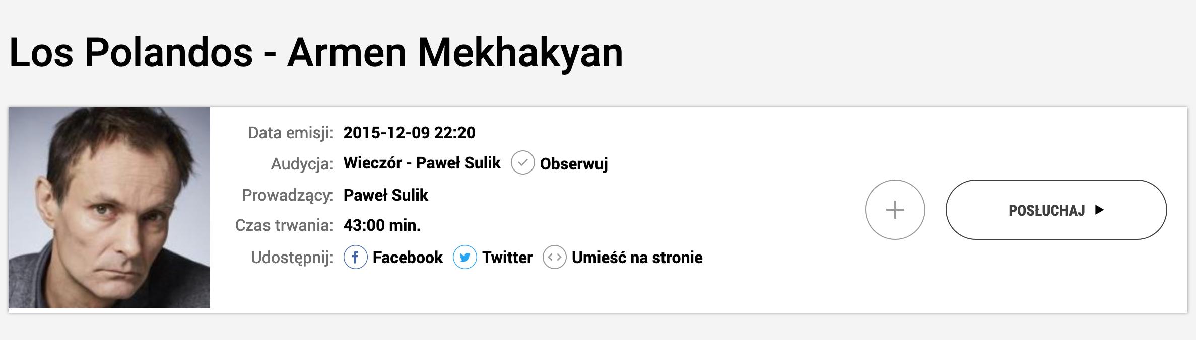 Wieczór, Paweł Sulik, wywiad, Armen Mekhakyan, posłuchaj